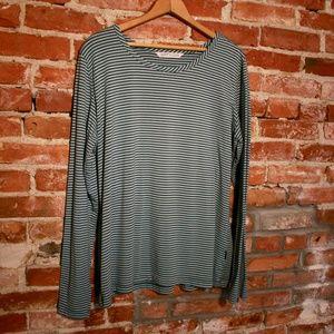 Woolrich Striped Long Sleeve Scoop Neck Tee Blouse